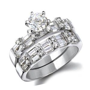 Classic Round & Baguette Wedding Ring Set .925